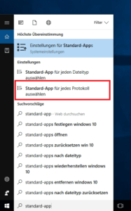 Win 10 App nach Protokoll