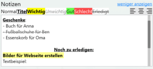 Gesten-Feed: Notizen